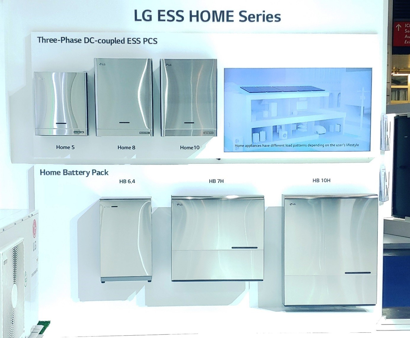A promotional display of products in the LG ESS HOME Series lineup