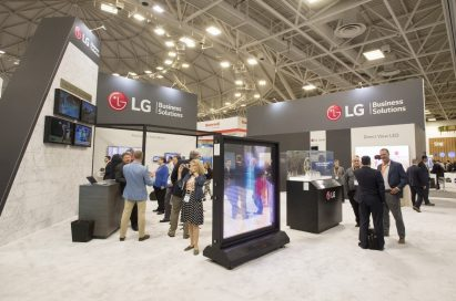 A front image of LG's booth at the Hospitality Industry Technology Exposition and Conference