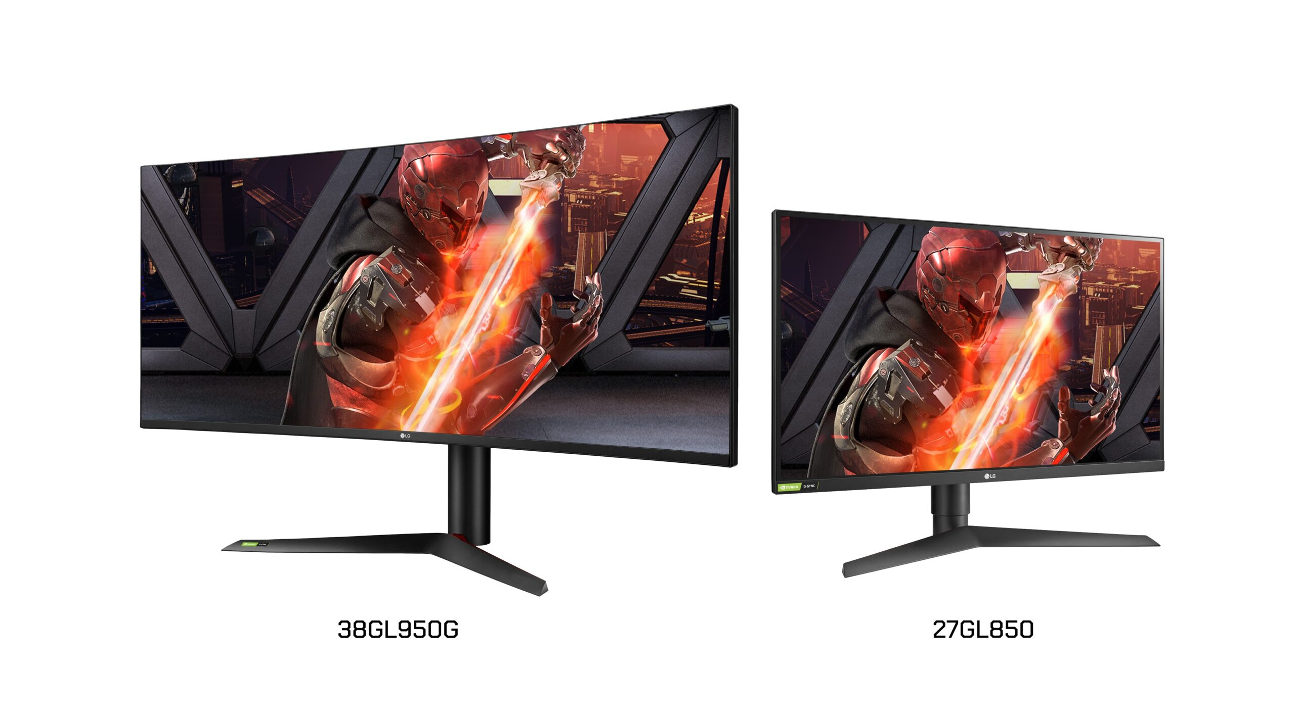 A right-side view of LG UltraGear Nano IPS G-SYNC Gaming Monitor model 38GL950G and a left-side view of model 27GL850
