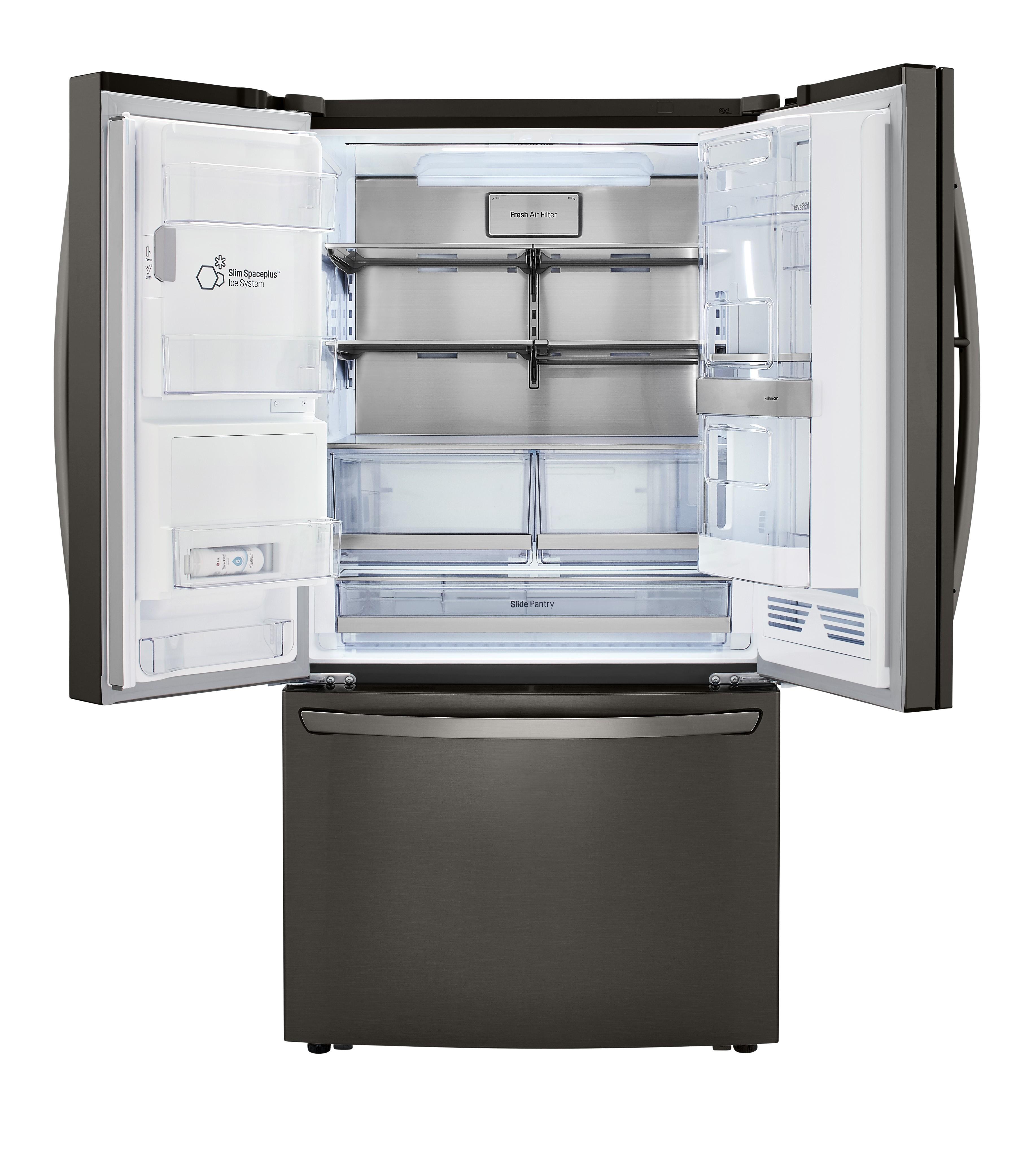 Front view of an LG three-door refrigerator with a door-ice maker with the top doors open