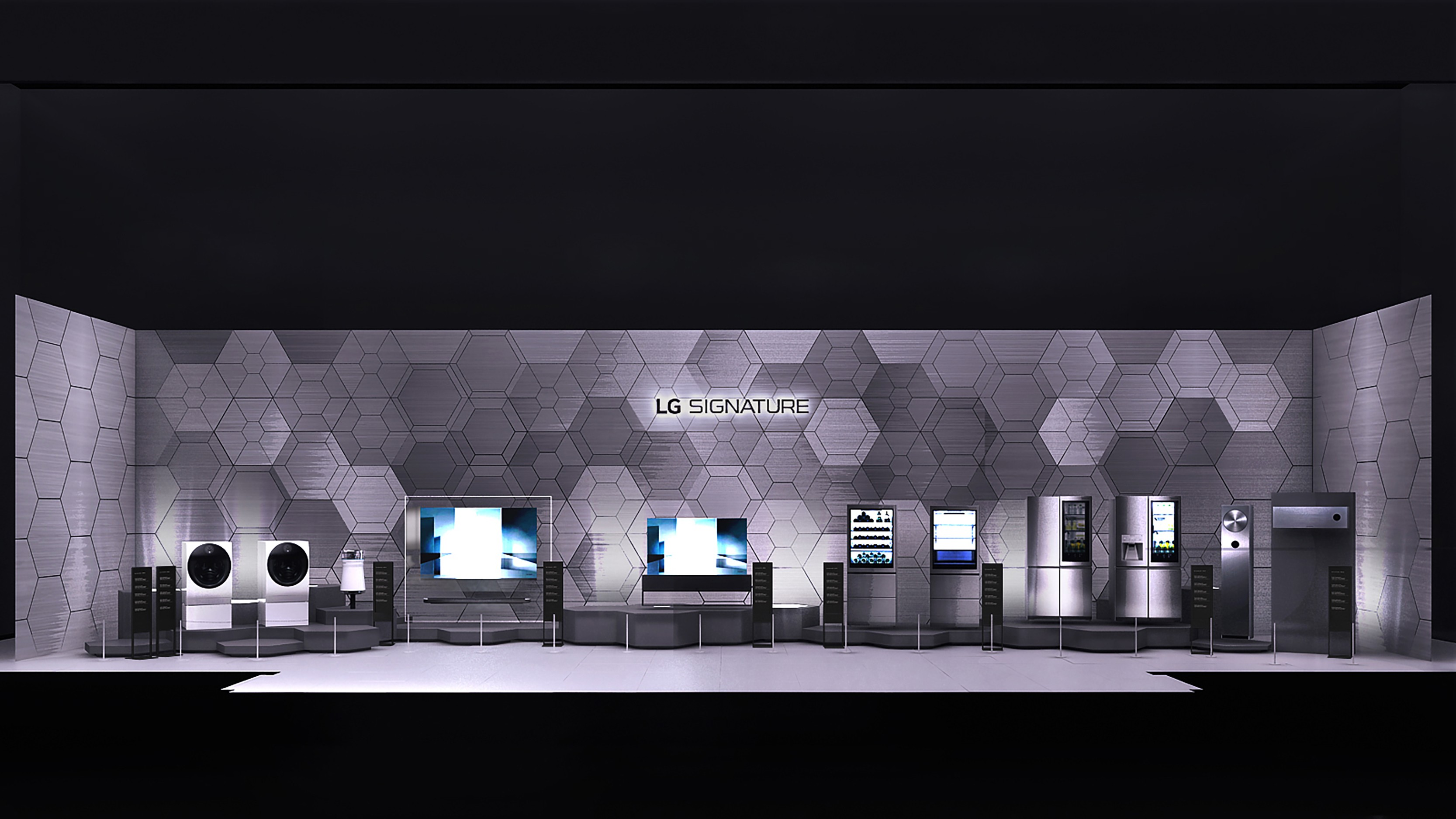 A picture of LG SIGNATURE's product lineup at the booth at IFA 2019.