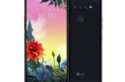The front and rear view of the LG K50S in New Aurora Black