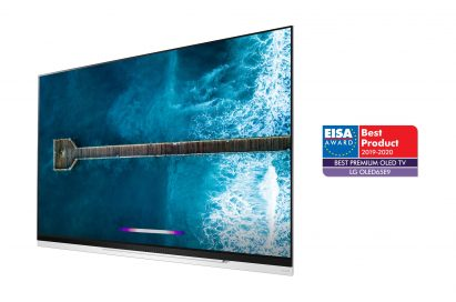 A right-side view of LG OLED TV model OLED65E9 with the EISA Award logo on the right