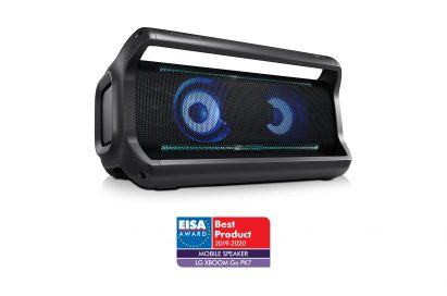 A left-side view of LG XBOOM Go model PK7 in black above the EISA Award logo