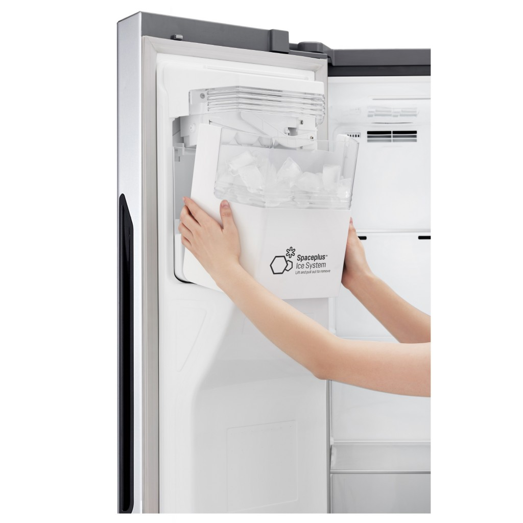 A close-up view of showing LG's patented door-ice making refrigerator technology.