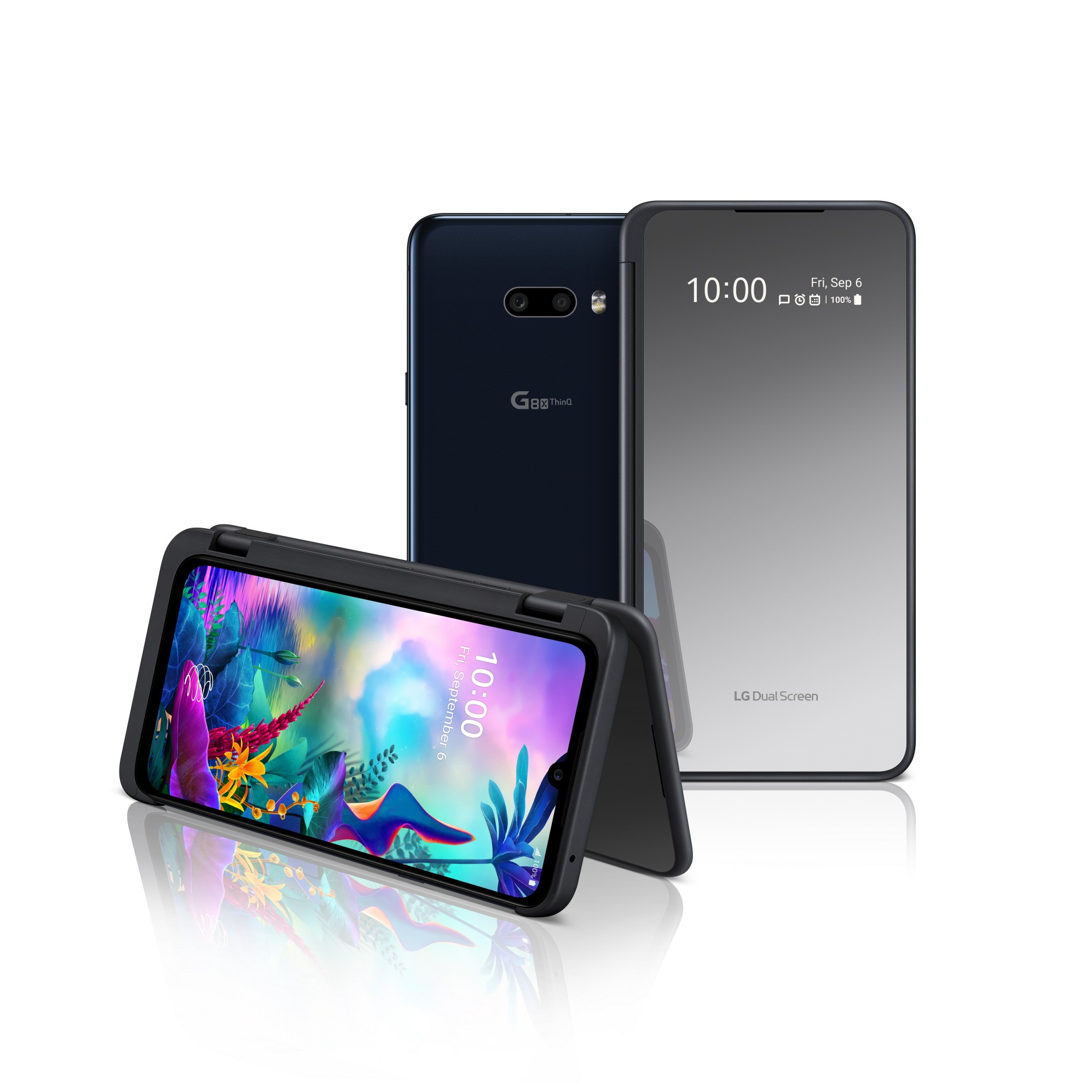The front and rear view of the LG G8X ThinQ in Aurora Black and the upgraded LG Dual Screen, with the front device folded like a tent