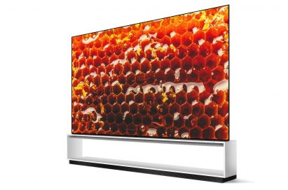 A right-side view of LG SIGNATURE OLED 8K TV model 88Z9 displaying a close-up picture of a honeycomb