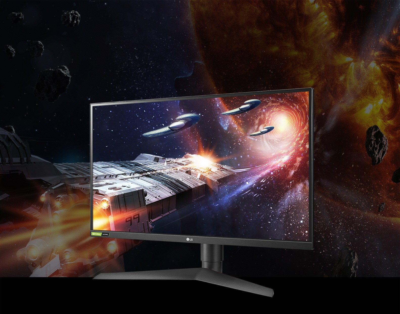 A right-side view of the LG UltraGear Monitor model 27GN750 displaying life-like images of space with rich colors in a dark setting
