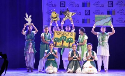 A local team of the LG Eco Agents of Change campaign performs on the stage to encourage their community to do their part in combating the water and plastic pollution.