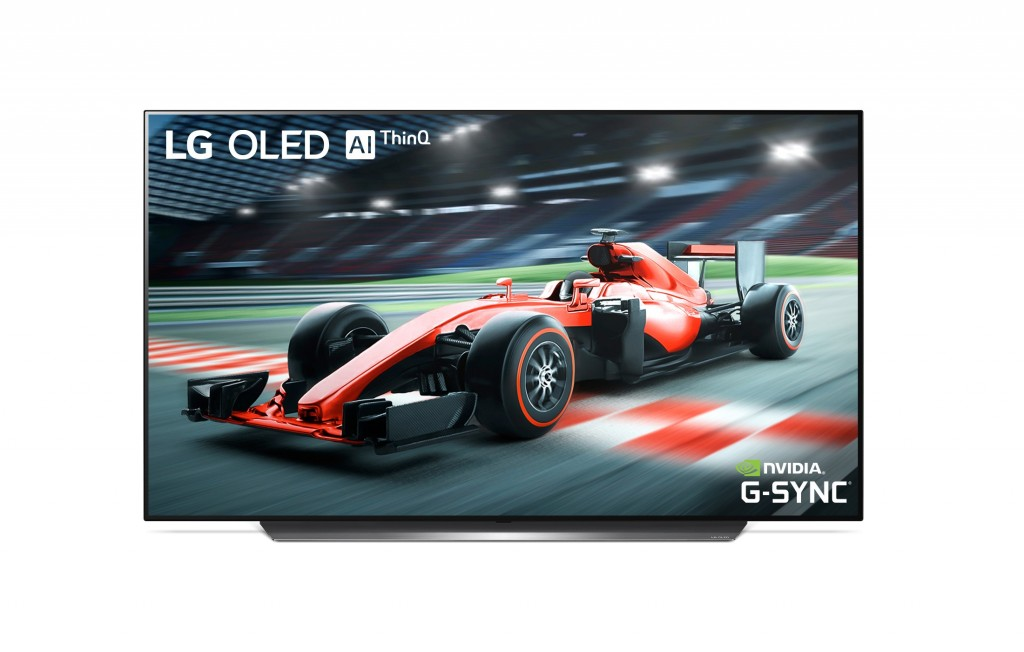 NVIDIA G-SYNC on LG OLED TV model C9 displaying a scene of car racing