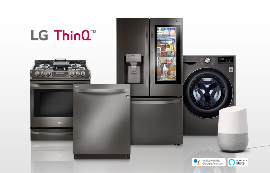 LG smart appliances lineup including refrigerator, front-load washing machine, oven and dishwasher with the SmartThinQ™ logo on the upper left. Google Home, an AI speaker with Google Assistant standing along with LG smart appliances.