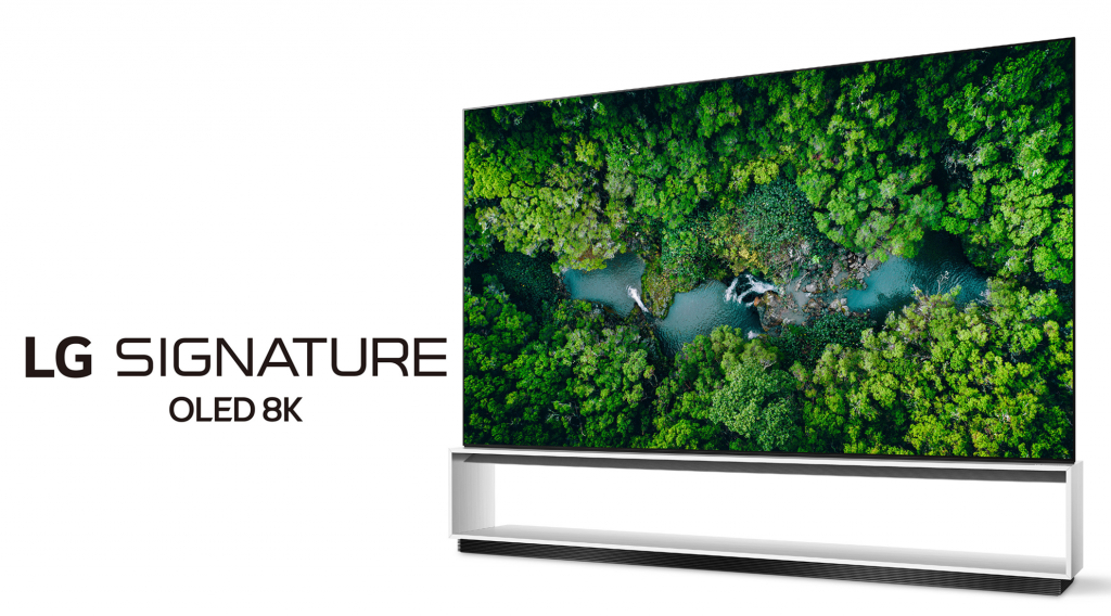 Right side view of LG's 2020 Real 8K OLED TV with the LG SIGNATURE OLED 8K logo positioned on the left