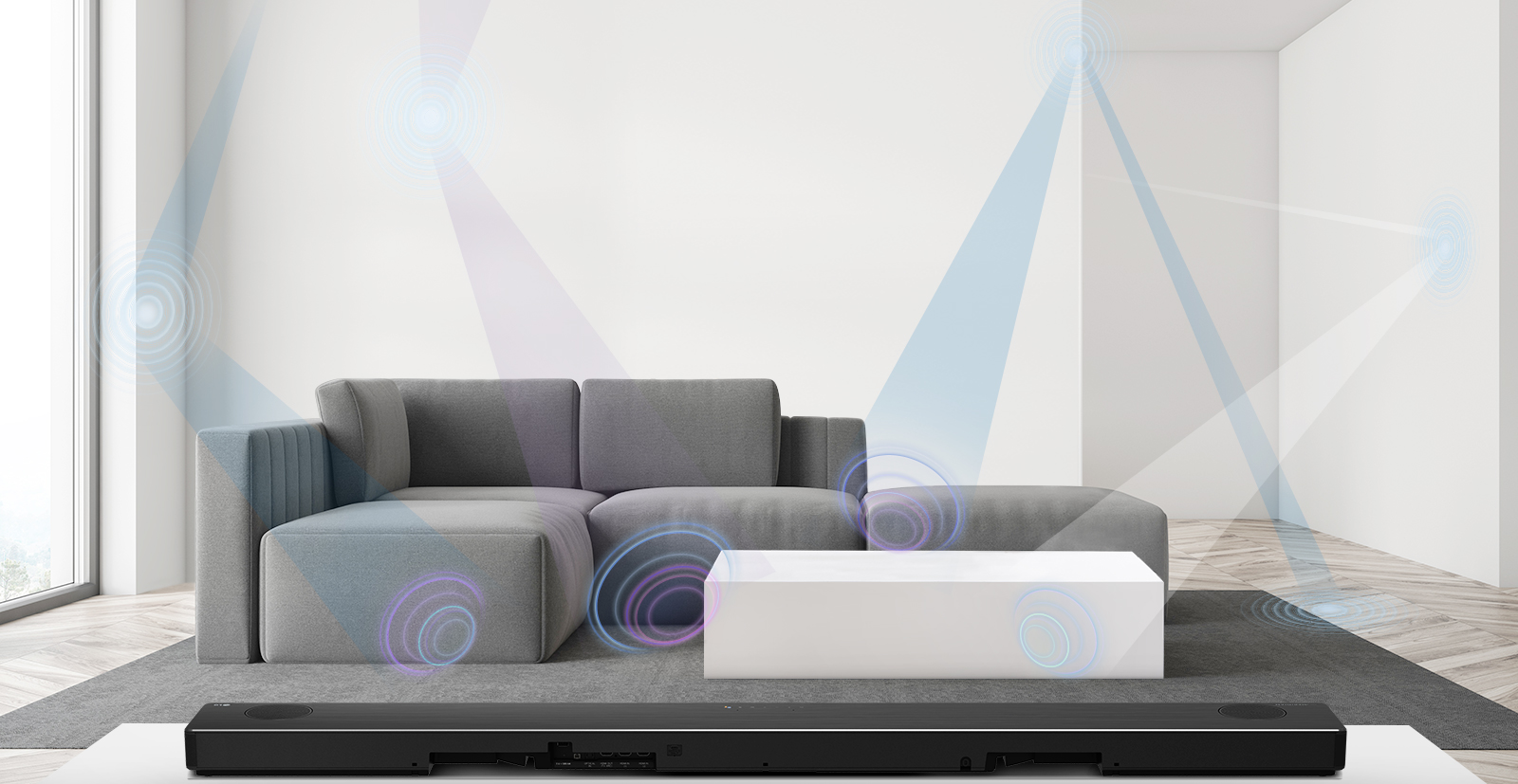 A concept image visualizing the LG SoundBar model SN11RG's AI Room Calibration feature optimizing sound for the living room