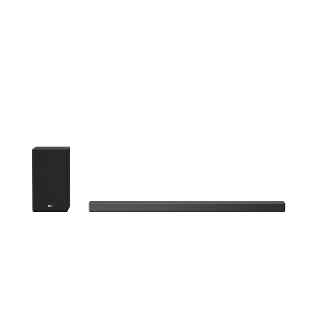 Front view of LG Soundbar model SN9YG with a speaker from the SPK8 Wireless Rear Speaker Kit to its left