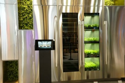 A front view of LG's indoor gardening appliance and wine cellar built into the wall of the LG ThinQ Home Zone at CES 2020