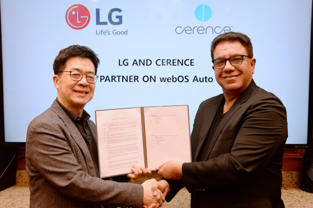Dr. I.P. Park, president and CTO of LG Electronics, shakes hands with Sanjay Dhawan, CEO of Cerence, to begin their partnership for new state-of-the-art in-car experiences