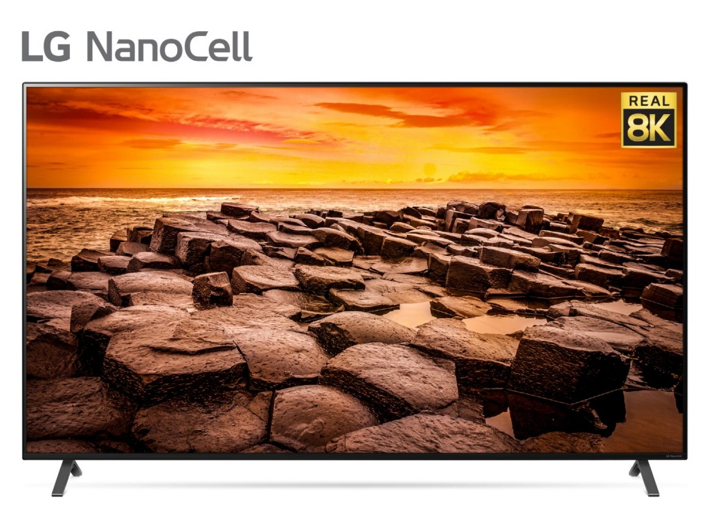 Front view of LG 8K NanoCell TV model 75 Nano99 with the Real 8K logo positioned in the upper-right corner of its display