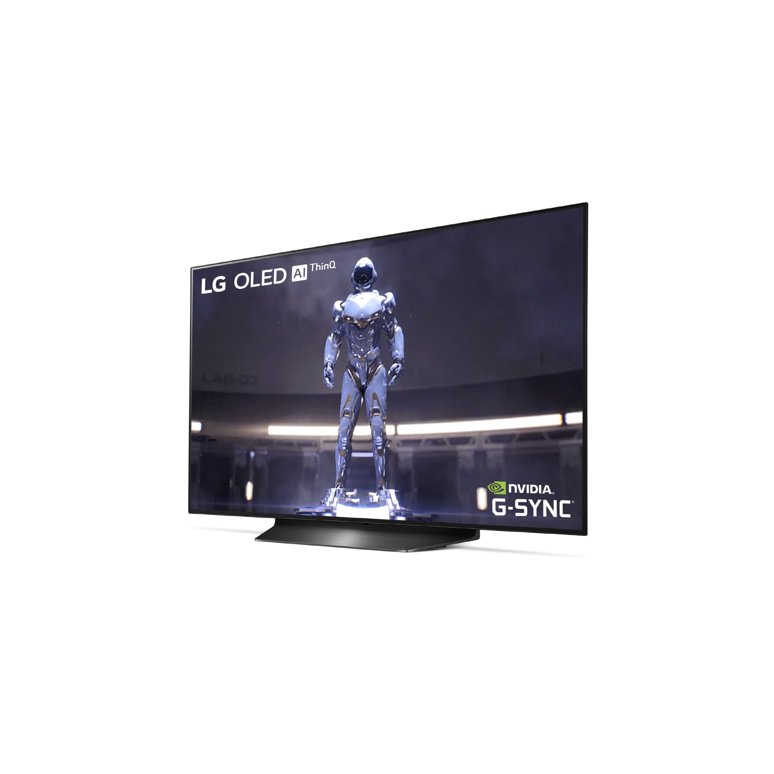 Right-side view of LG's 48-inch OLED TV model CX, with the LG OLED AI ThinQ and NVIDIA G-Sync logos in opposite corners of the TV's display