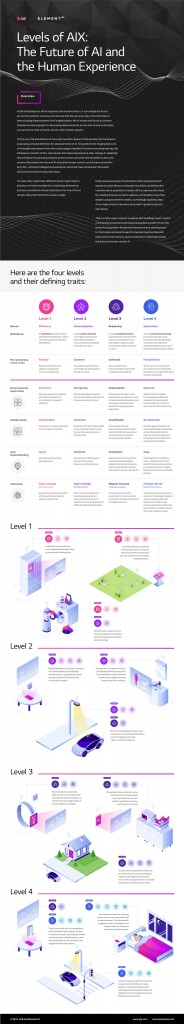 An infographic explaining the Levels of AIX: The Future of AI and the Human Experience presented at CES 2020