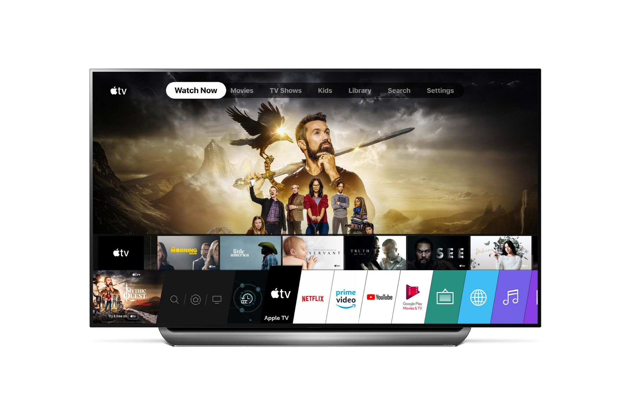Front view of an LG TV displaying the Apple TV app home screen through its LG webOS operating system