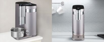 A right-side view of LG PuriCare™ with a pot placed underneath on the left, and its front view on the right