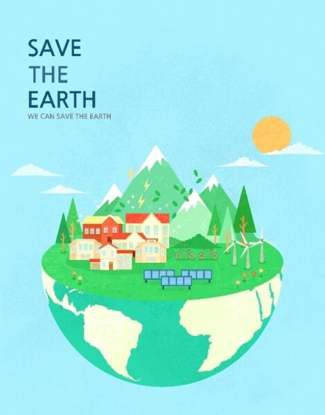 """A poster with the slogan, """"Save The Earth, We Can Save The Earth,"""" to celebrate Earth Day."""
