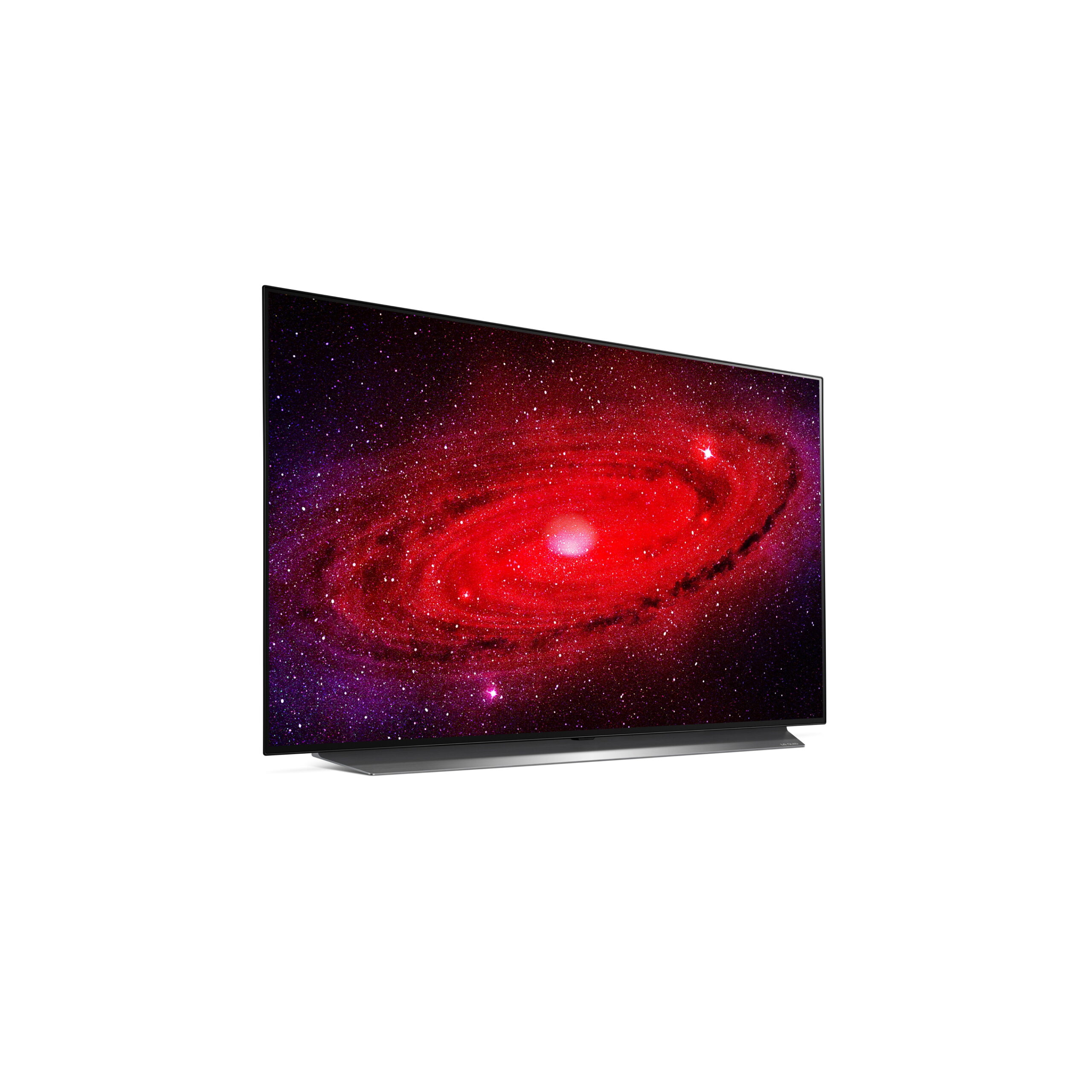 Left side view of LG's 48-inch OLED TV displaying a galaxy in extreme detail with powerful reds and purples