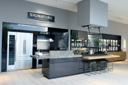 View of the LG Signature Kitchen Suite display zone with the company's top-of-the-line AI-enabled home appliances