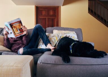A Man sits on his couch with his dog while reading a magazine