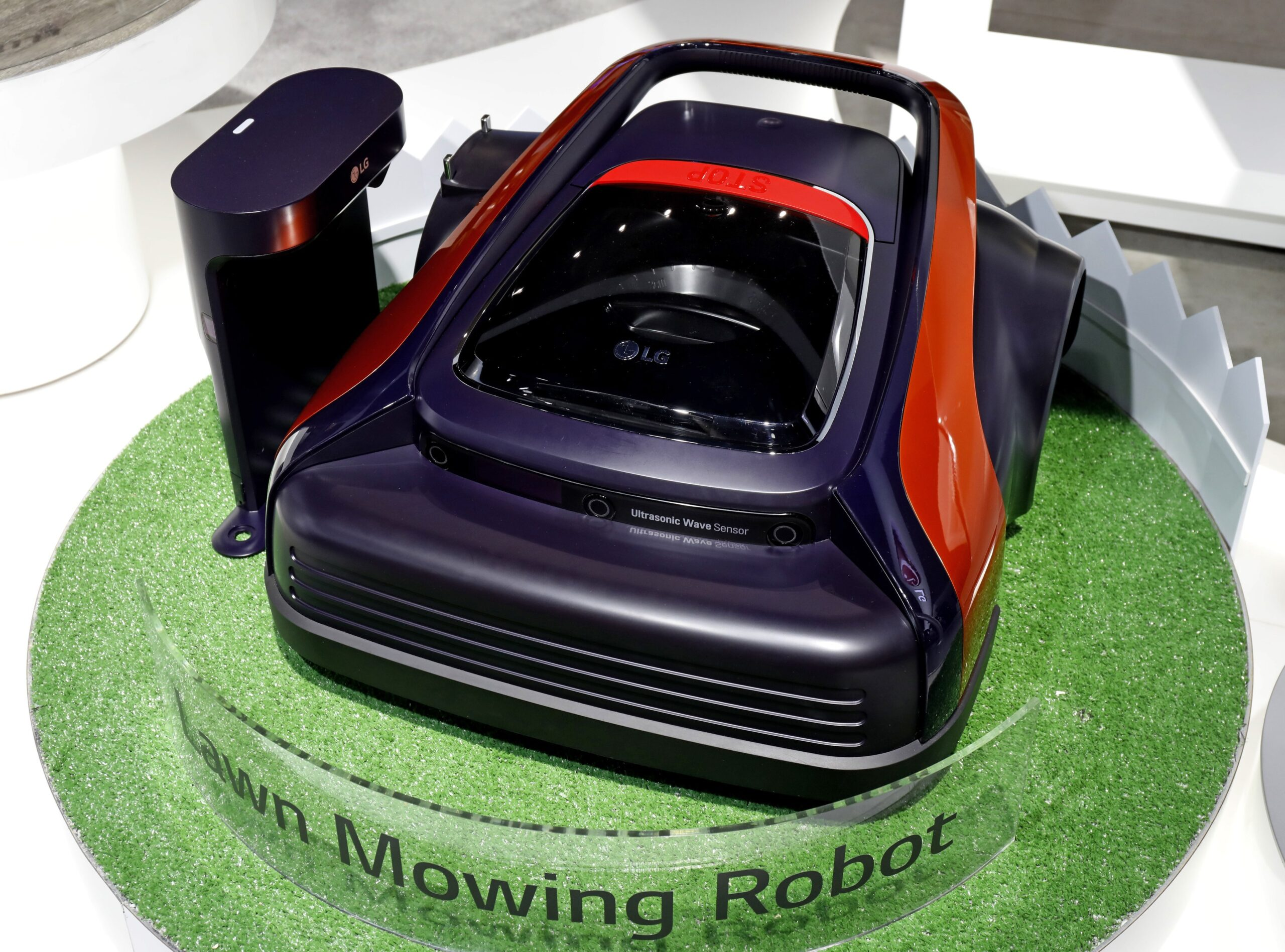 LG's Lawn Mowing Robot on display at LG's CES 2017 booth