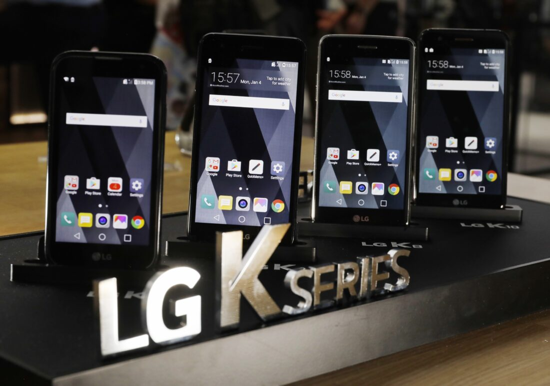 Close-up front view of the LG K Series smartphones including the K4, K7, K8 and K10 models on display at LG's CES 2017 booth