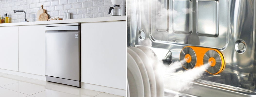 The LG TrueSteam dishwasher fitted into a kitchen on the left, and a look inside the dishwasher and its TrueSteam technology on the right