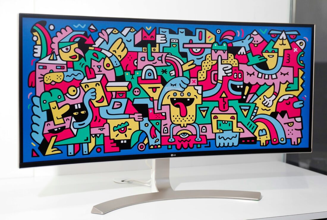 A close view of the LG UltraWide UHD 4K monitor on display at LG's CES 2017 booth