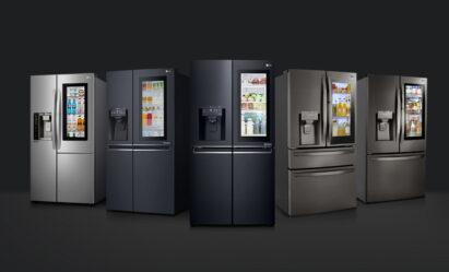 LG InstaView Door-in-Door™ refrigerator models in various colors and designs