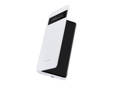 LG VELVET encased inside the LG Dual Screen in White