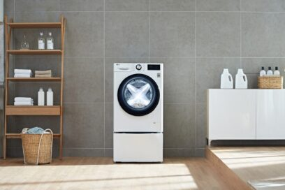 The front view of LG's TurboWash™ 360 in a modern home