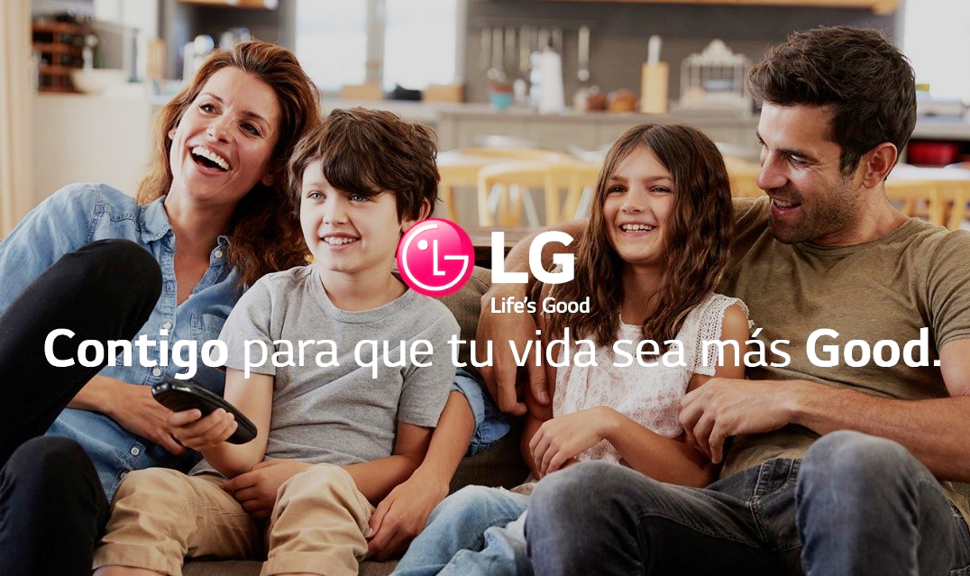 A family of four watch TV together with the LG logo overlapping