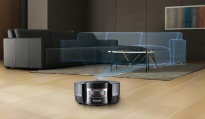 LG CordZeroThinQ Robotic Mop mapping out the living room before it starts to clean