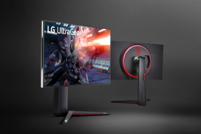 A front and rear view of LG's new UltraGear Monitor