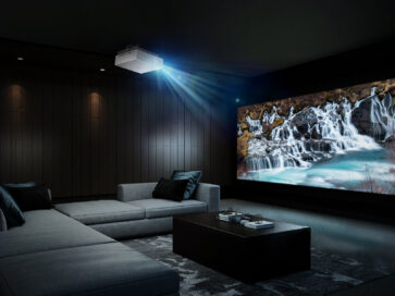 LG CineBeam 4K UHD Laser projector delivering vibrant, crystal clear images in a dark room