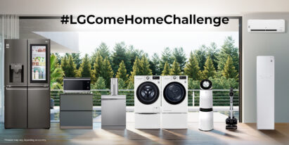 A living room with LG home appliances – refrigerator, microwave, dishwasher, water purifier, washer, dryer, air purifier, vacuum cleaner, Styler and air conditioner – under the text '#LGComeHomeChallenge.'