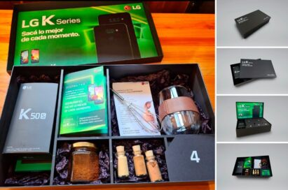 The K Series box containing the new K50S smartphone with additional treats and information, which was given to some of Argentina's biggest content creators