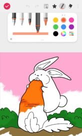 A screenshot of LG VELVET's art-inspired app showing someone's half-finished picture of a rabbit eating a carrot and the many drawing tools to choose from above