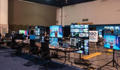 LG's 43-, 55- and 65-inch 4K Ultra HD displays already set up at the Democrat convention's multimedia control center in Wisconsin