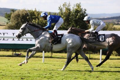 Horses racing at the Qatar Goodwood Festival, which was held in the south of England