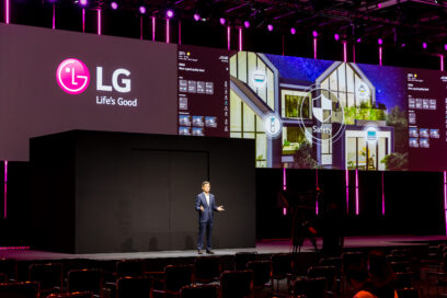 Dr. Kim Kyung-ho, executive vice president of the LG's Business Solutions Europe, introduces the LG ThinQ Home on stage for IFA 2020