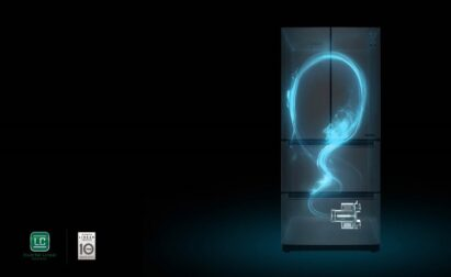 A concept image showing the LG kimchi refrigerator's cooling circulating air around the whole appliance for fresher, longer-lasting food