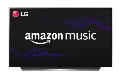 Front view of an LG TV displaying the Amazon Music logo in the center of its screen to celebrate its new compatibility