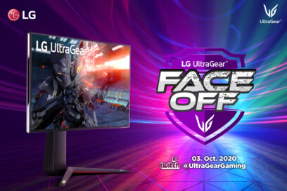 LG UltraGear, which provides an immersive gaming experience, standing next to the LG UltraGear FACE-OFF tournament logo