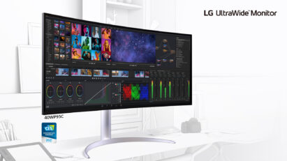 LG UltraWide monitor 40WP95C, a CES Innovation Award Honoree, displaying every video and picture editing tool on one screen